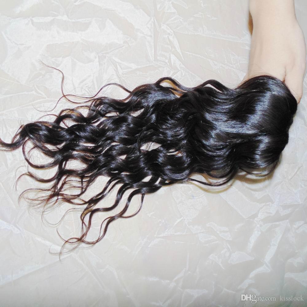 Natürliche Haarwelle Rohes reines Wasser Wellenförmiges indisches Menschenhaar Unverarbeitete Schussfäden 300g / Schnelles Lager