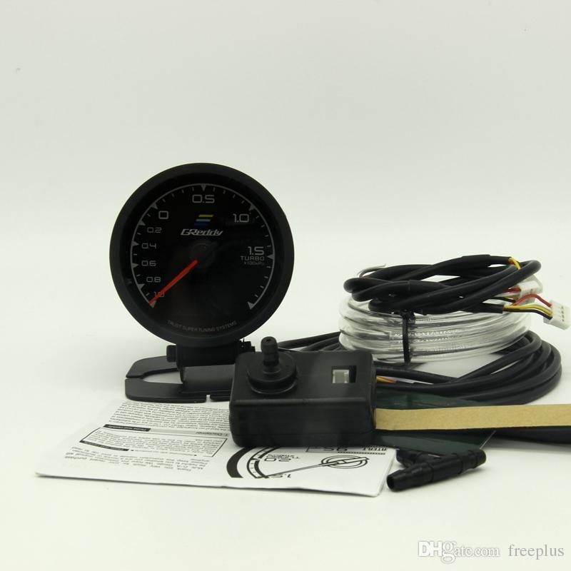 62mm 2,5 pouces 7 couleurs en 1 Racing GReddy Multi D / A LCD Affichage numérique Turbo Boost Gauge Capteur de jauge automatique