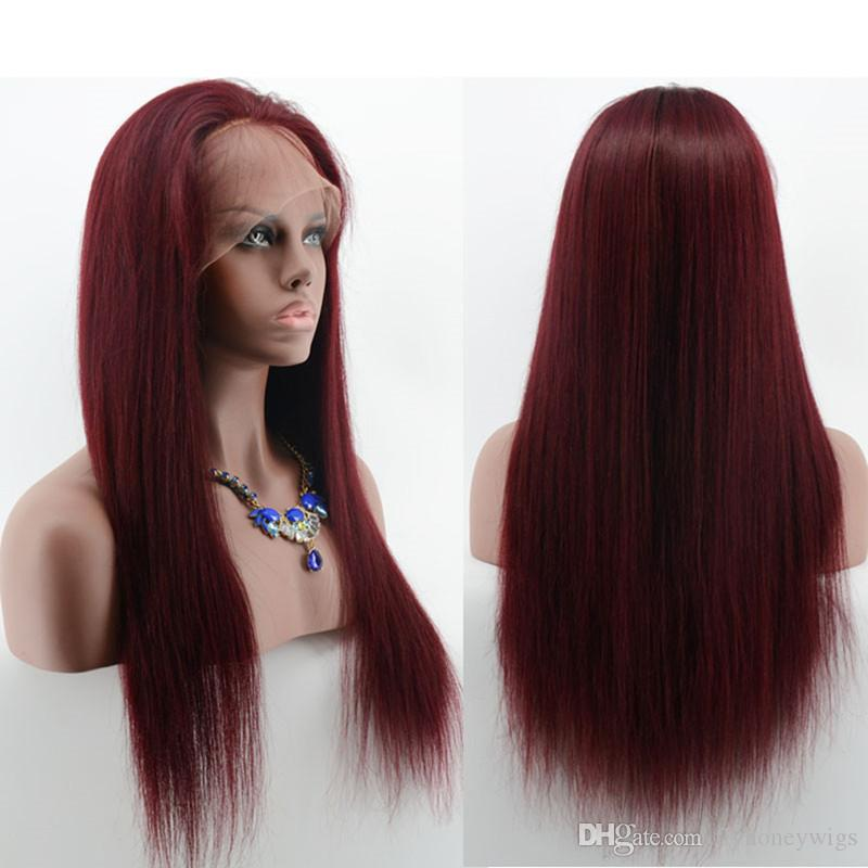 #99J Burgundy Full Lace Wigs Silky Straight Human Hair Wig Hair Red Wind 99J Lace Front Wigs For Black Woman