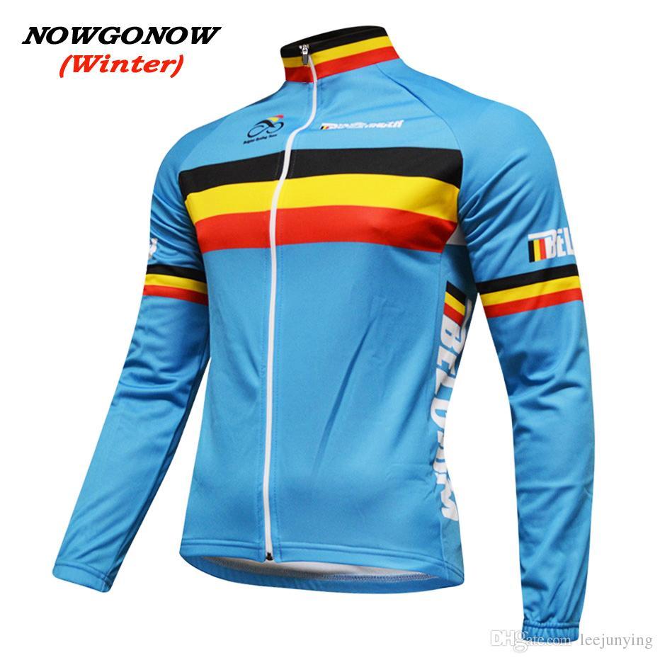 남성 겨울 2017 벨기에 플래그 사이클링 저지 파란색 자전거 의류 착용 프로 경주 승마 MTB 도로 로파 ciclismo NOWGONOW bicicleta 긴 소매