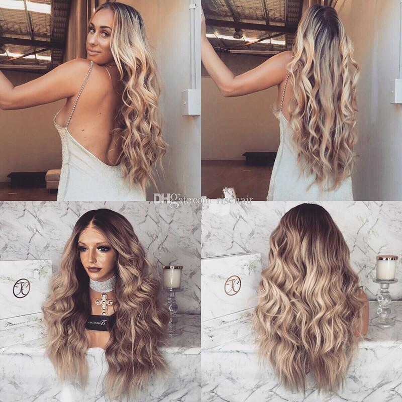 #1BT#18 Dark Ash Blonde Color Dark Roots Brazilian Remy Human Hair Full Lace Wig Ombre Ash Blonde Body Wavy Human Hair Wigs