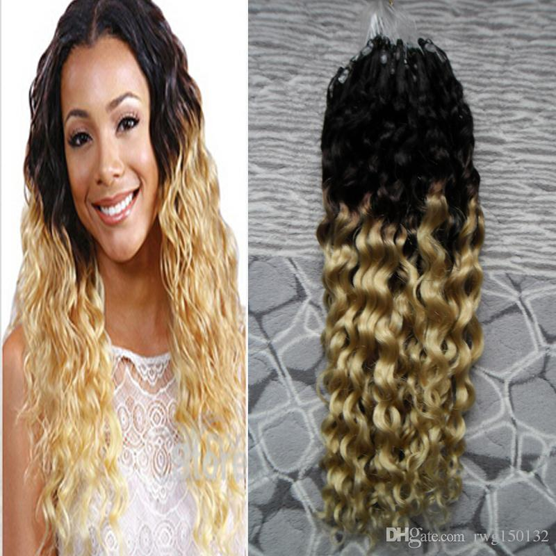 T1b613 blonde virgin hair ombre micro link human hair extensions t1b613 blonde virgin hair ombre micro link human hair extensions 100g kinky curly micro bead human hair extensions 100s ring hair extension hair extensions pmusecretfo Image collections