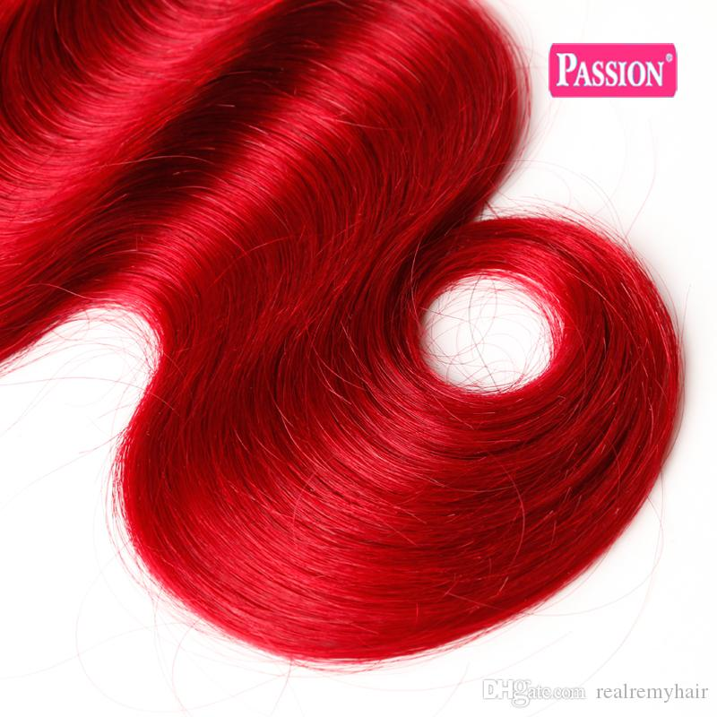 Colored Brazilian Red Ombre Human Hair 3 Bundles Two Tone 1b/Red Brazilian Body Wave Remy Human Hair Weave Extensions