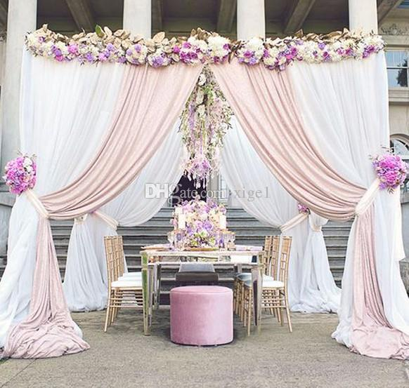 101010 Pure White With Champagne Square Canopy Drape Stainless Steel Pipeswedding Stage Decoration Wedding Mandap