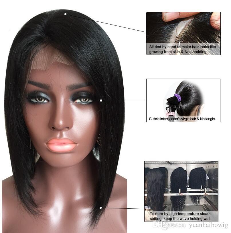 Mode kurze Bob Glueless Spitzefront Menschliches Haar Perücken Peruanische Jungfrau Haar volle Spitze Bob Perücken mit Baby-Haar für schwarze Frauen