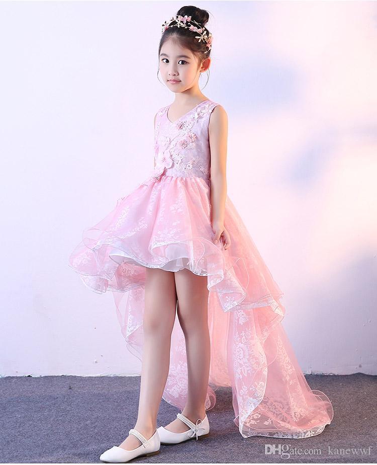 Elegante Applikationen Rosa Spitze Blume Mädchen Hochzeitskleid Langer nachlaufendes Mädchen Geburtstags-Prom formale Erstkommunion Kleid Baby Taufekleider