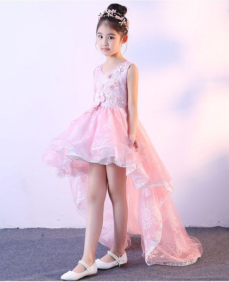 Elegante appliques rosa pizzo fiore ragazza abito da sposa lungo trailing girl compleanno promozione formale prima comunione abito abito battesimo bambino abiti