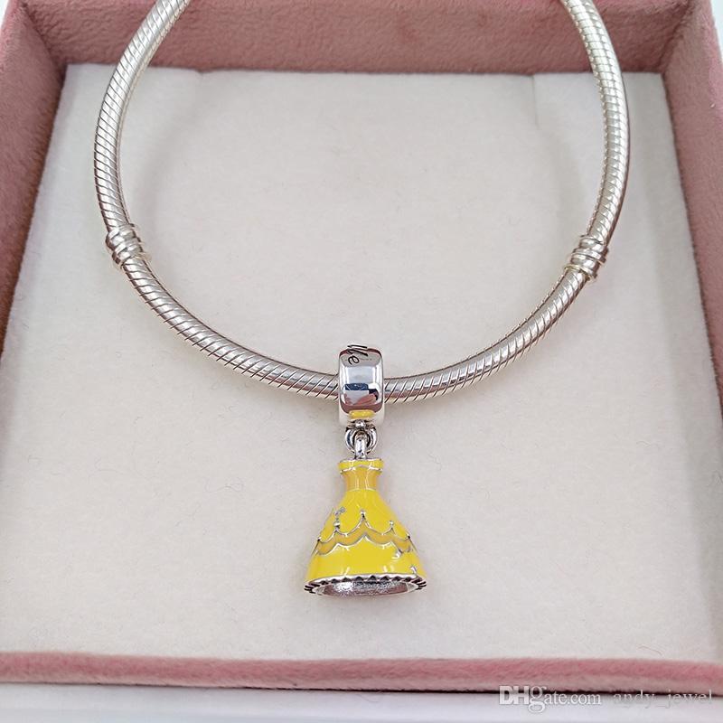 Authentische 925 Sterling Silber Perlen Disny, Belle'S Kleid passt europäischen Pandora Style Schmuck Armbänder Halskette 791576ENMX
