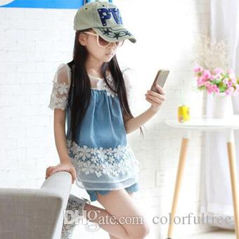 b03b5473f45a 2019 Children Clothing Summer 2017 New Cowboy Lace T Shirt Shorts 6 7 8 9  10 11 12 13 Year Old Teen Girl Set From Colorfultree