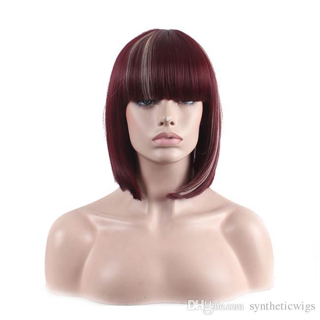 WoodFestival breve rettilineo capelli sintetici parrucche parrucca bob bordeaux con parrucca frangia spalla lunghezza fibra piena termoresistente donne superiori