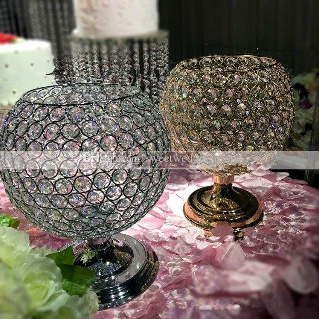 suporte de flor votive do suporte de vela do cristal novo do ferro do ouro para peças centrais da tabela do casamento