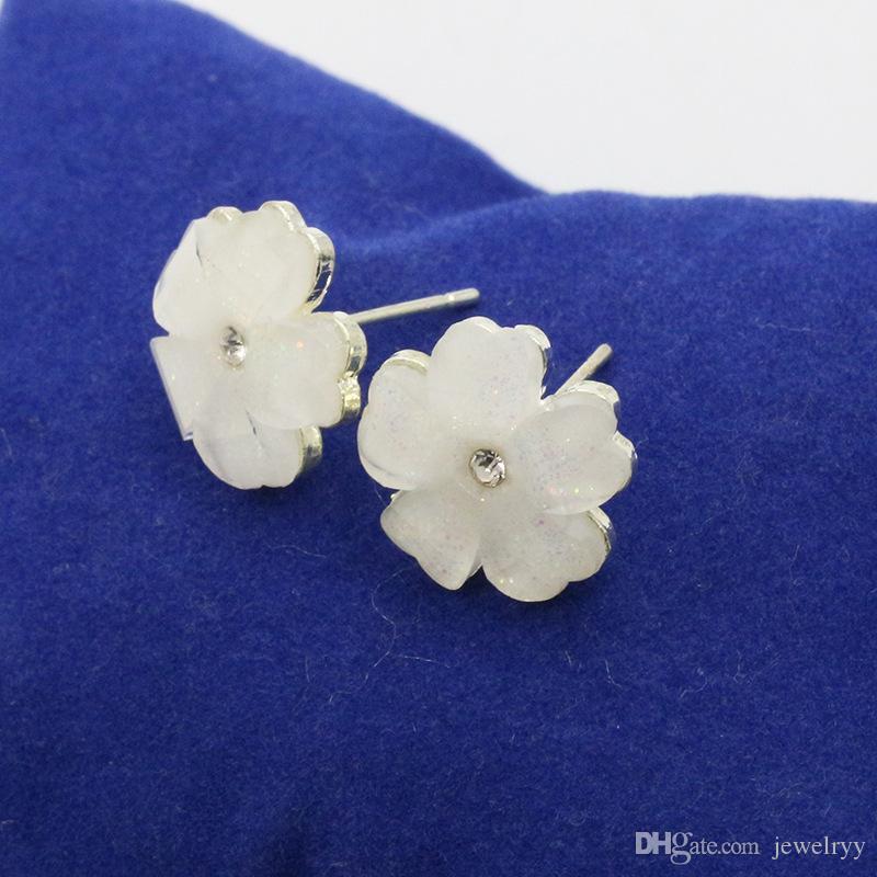 Fashion Flower Crystal Studs Earring Ear Stud Elegant Girls Flower Earrings for Women Wedding Party Jewelry