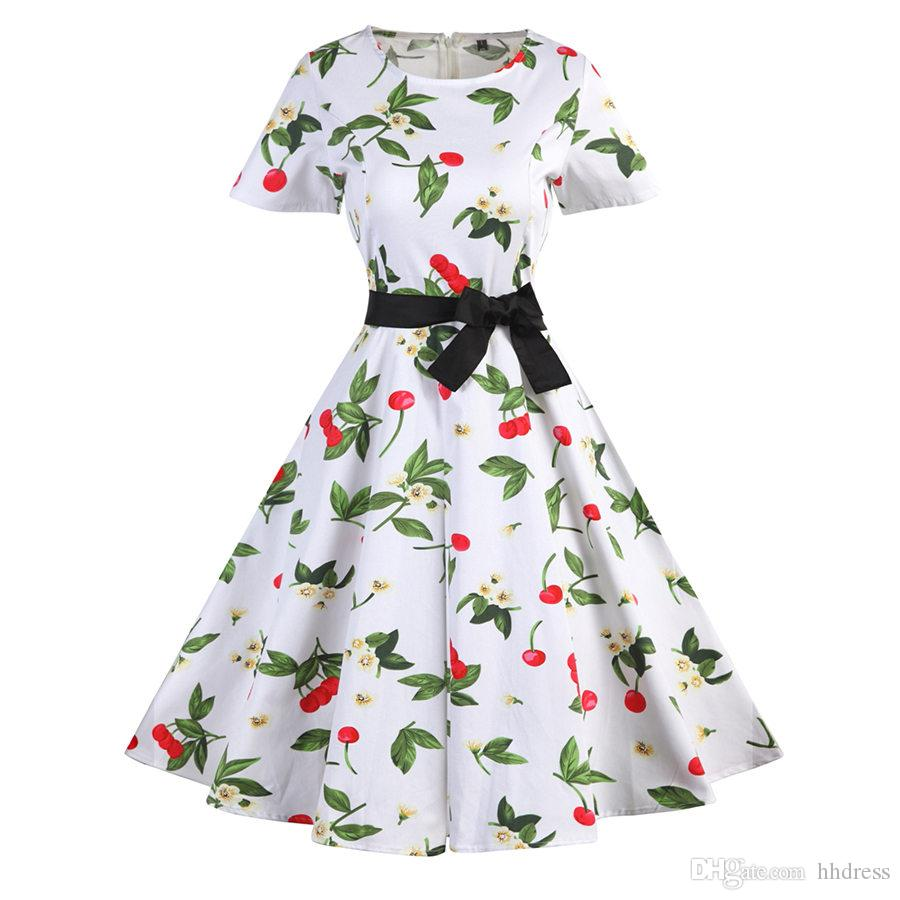 Women S 1950s 60s 80s Vintage Floral Printed Causal Dresses Boat Neck Short  Sleeve Midi Party Cocktail Swing Dresses With Black Sash White Floral  Sundress ... 11ddbdc466e5