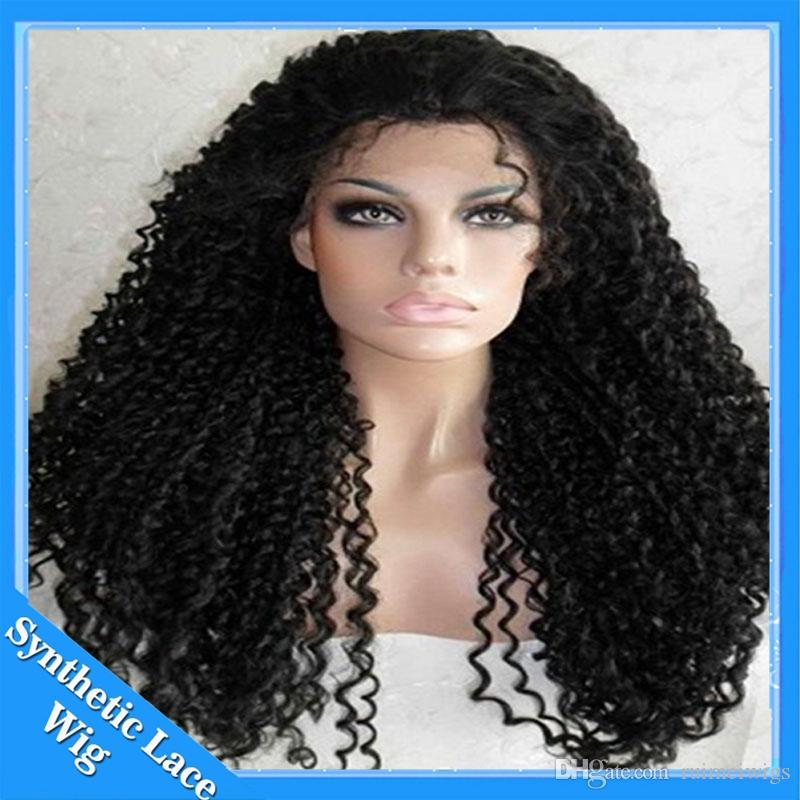 Cheap Afro Kinky Curly Lace Front Wigs Synthetic-Natural Black Soft Fiber Hair Synthetic Lace Front Wig Heat Resistant Glueless Synthetic Wi