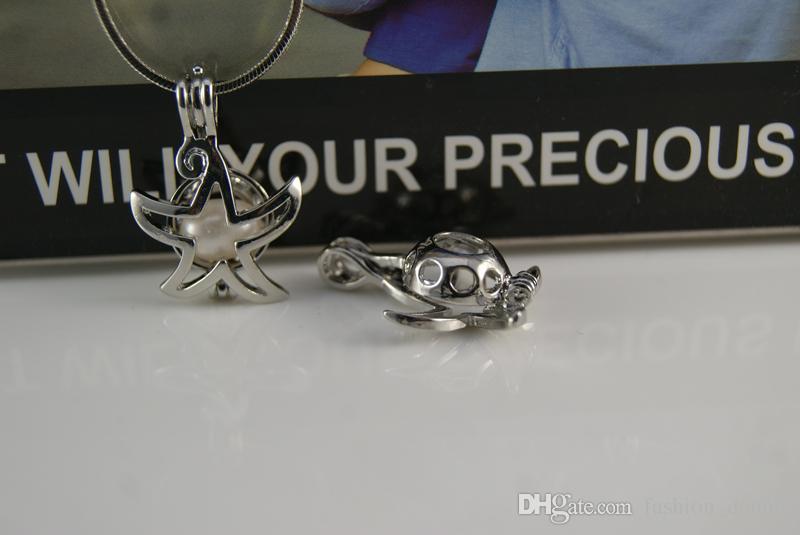 18kgp Starfish Pearls gaiolas pingentes de abertura oco contas flutuantes medalhões encantos para DIY jóias que fazem suprimentos lotes a granel
