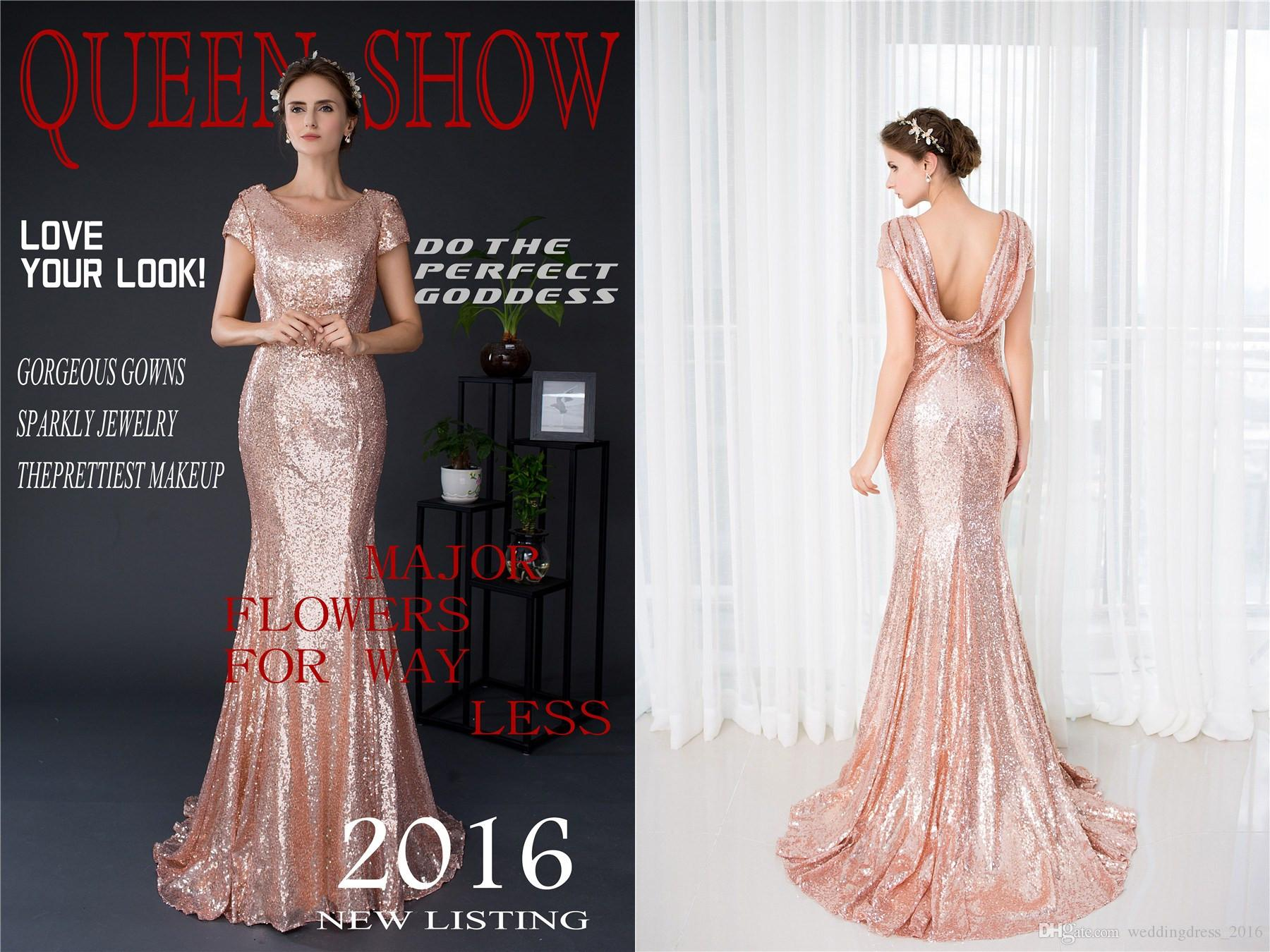 Rose Gold Sequins Short Sleeve Women Prom Dresses Mermaid Beads ...