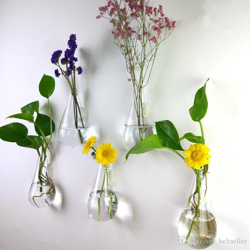 Clear climbing wall glass flower vase water droplet shape air plants terrarium green plants hanging vases for Christmas Ornaments home decor