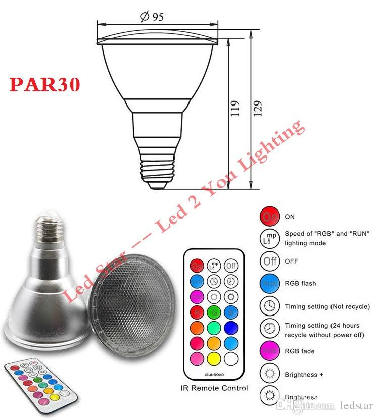5W 10W RGB LED Spotlight PAR20 PAR30 led bulbs E27 Dimmable bulb lamp waterfpoof bulbs 110V 220V LED DJ Club Stage light