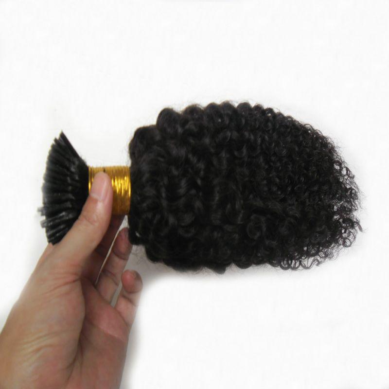 Монгольские курчавые вьющиеся волосы, я кончик наращенных волос 100 г 100 с афро странный вьющиеся палки кончик кератина 100% реми человеческих волос