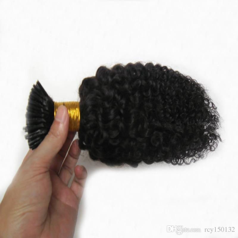منغولية غريب مجعد الشعر أنا غيض ملحقات الشعر 100 جرام 100 ثانية الأفرو غريب مجعد عصا نصيحة الكيراتين 100٪ ريمي الشعر الإنسان ملحقات