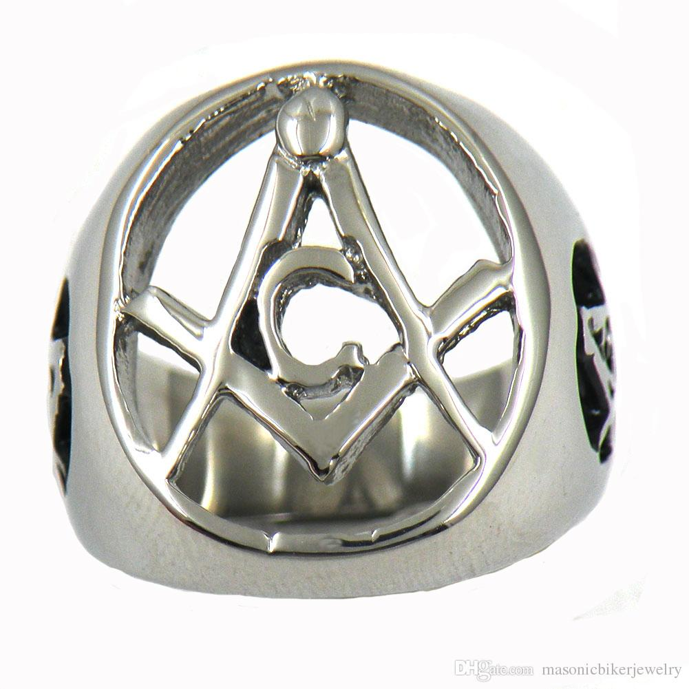 Stainless steel mens or wemens jewelry free masonary square and ruler master mason masonic ring gift for brothers or sisters