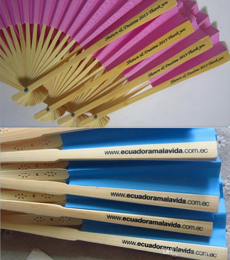 Großhandel Personalisierte Geschenk Hochzeit Hand Fans Papier Bambus ...