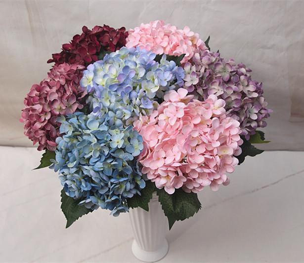 Artificiale fiore di seta ortensia falso foglia casa partito giardino decorazione della stanza di nozze bianco / rosa / viola / hotpink / verde