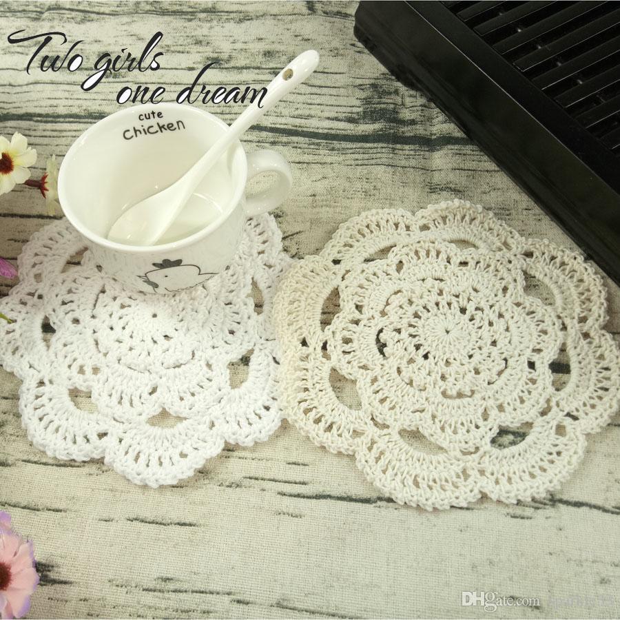 Vintage Diy Handmade 16cm Round Table Mat Crochet Coasters Zakka Doilies Cup Pad Props