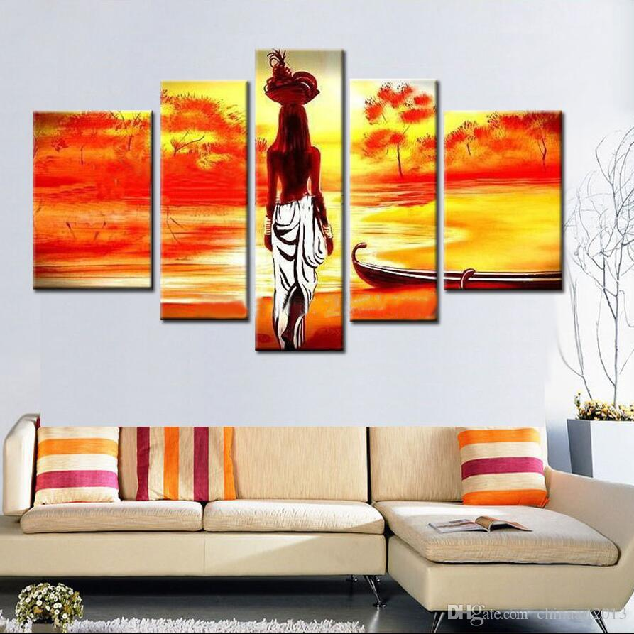 Unframed Hand Painted abstract Modern Wall Painting african girl Home Decorative Art Picture Paint on Canvas