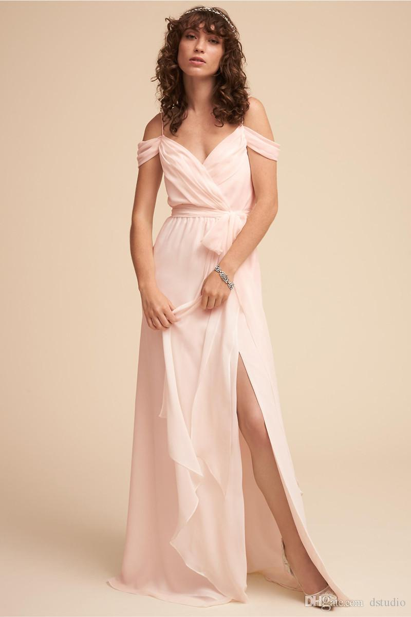 Blush Bridesmaid Dresses Long Chiffon Summer Beach Wedding Party Dresses guest gowns Sexy Side Split Long Bridesmaid Gowns Cheap Plus Size