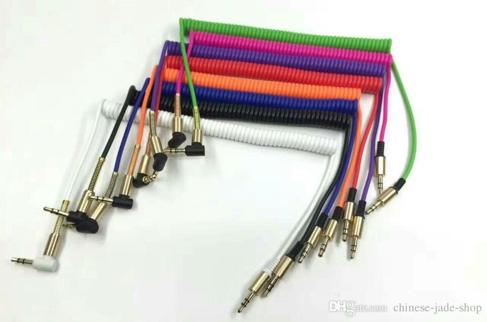 Câble à ressort L PLUG Adaptateur en aluminium en métal Matériel TPE 3.5mm Câble audio stéréo 1M 3FT Soulagement en acier à ressort /