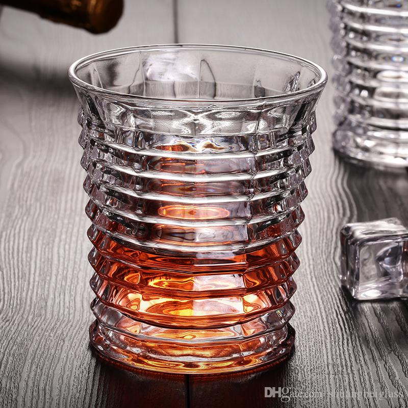Wholesale Promotional Machine Made Fashional Style Cheap stripe 200ml Whiskey Glass Cup Good Decoration Idea For Gift