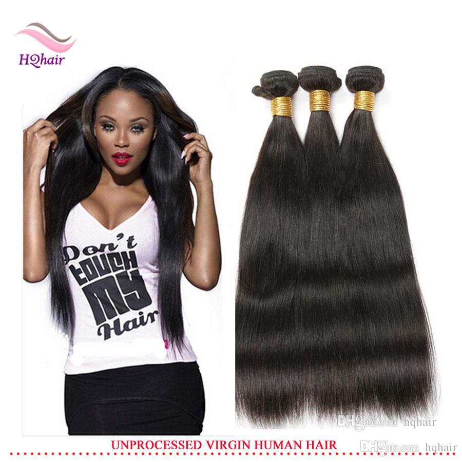 Meilleur Qualité Vierge Indien Cheveux Humains Armure / Droite Bundles Cheveux Non Transformés Brésilien Péruvien Malaisien Extension de Cheveux 8-30 Pouce