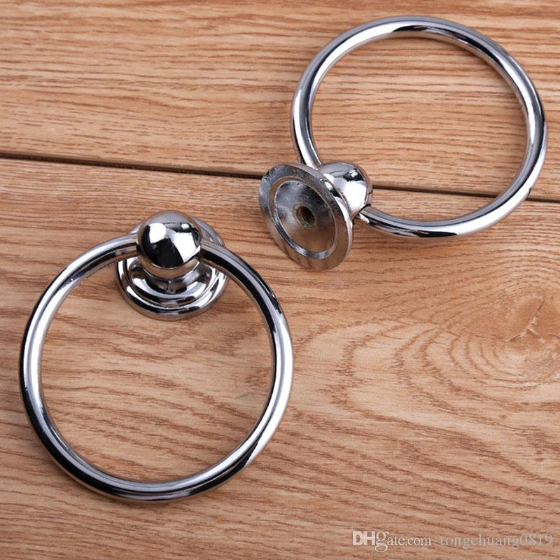 Diameter 70mm modern simple shiny silver drop rings wooden chair wooden door handles chrome kitchen cabinet drawer pulls knobs