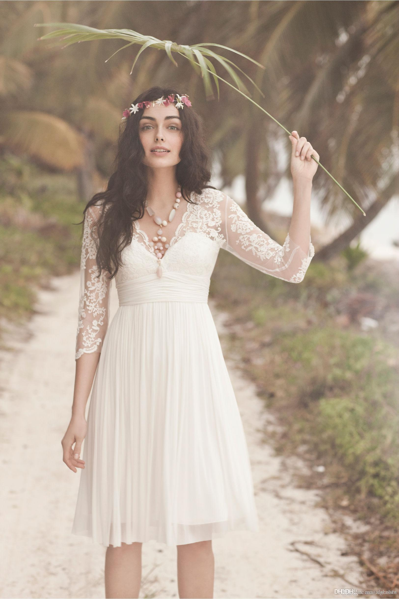 Boho Short Lace Wedding Dresses with Ivory Sheer 3/4 Long Sleeves 2017 V Neck Pleated A-Line Knee Length Chiffon Beach Bridal Gowns