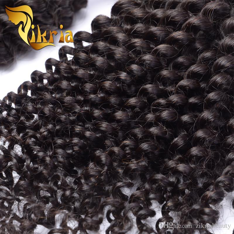 가공되지 않은 몽골어 변태 곱슬 브라질 인 인도 말레이시아 페루 곱슬 머리 4 개 묶음 씨실 인간의 머리카락 확장 염색 몽골 머리카락