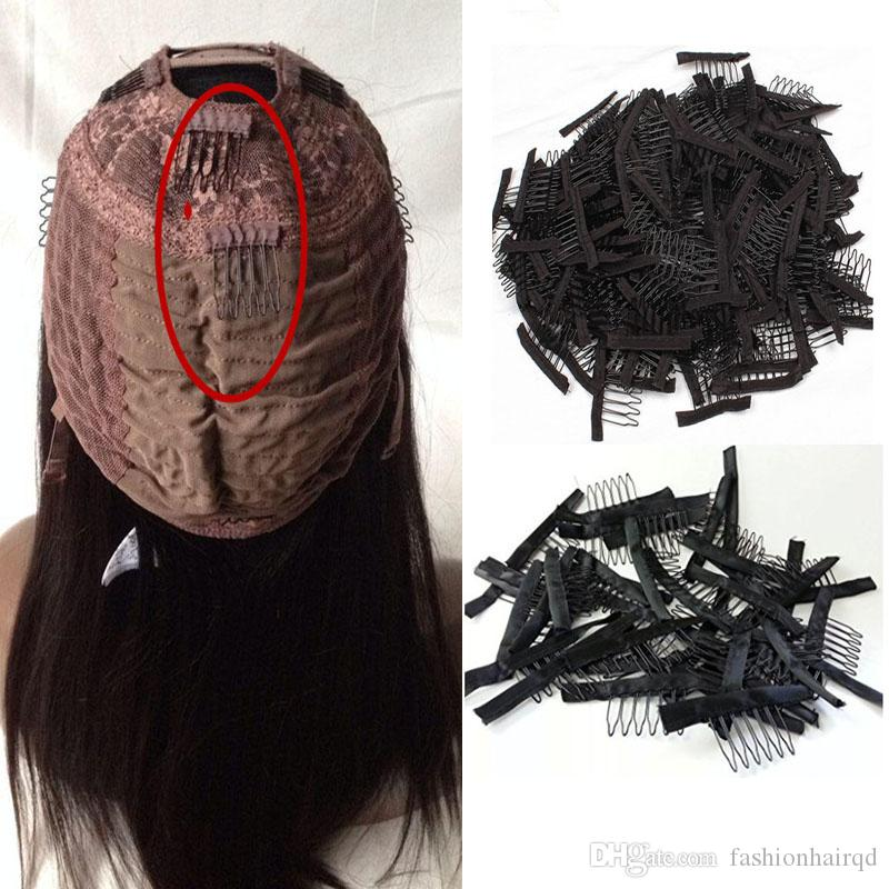 Wig Combs For Making Wigs 6 Teeth Brown Black Color Wig Clips Cheap Stainless Steel Hair Exensions Clips Tools
