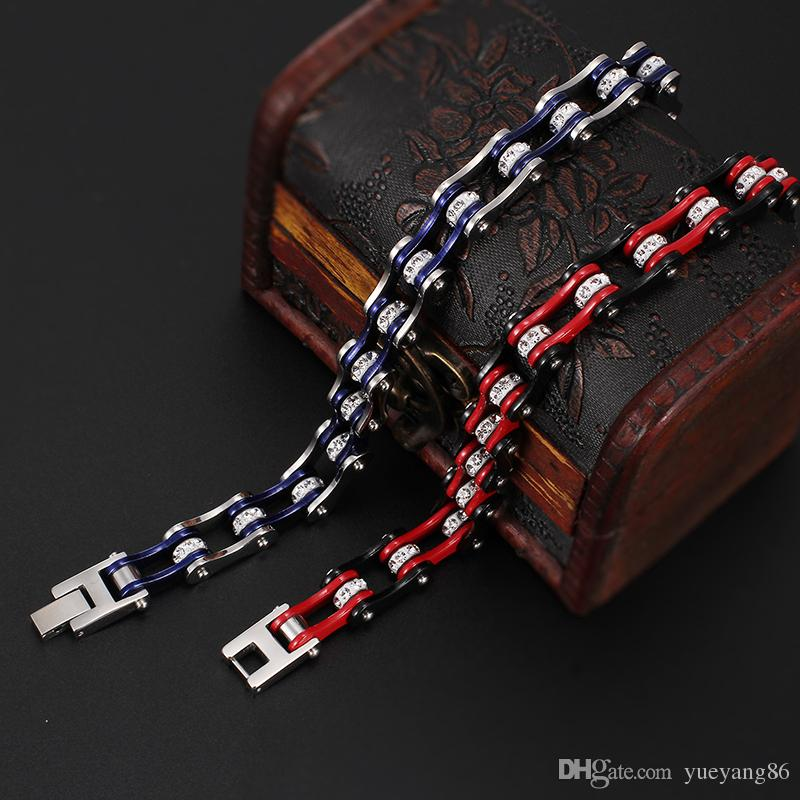 New Design Jewelry Fashion Stainless Steel Crystals bicycle chain crystal Bracelet Motorcycle chain 9'' Silver Blue / Black Red