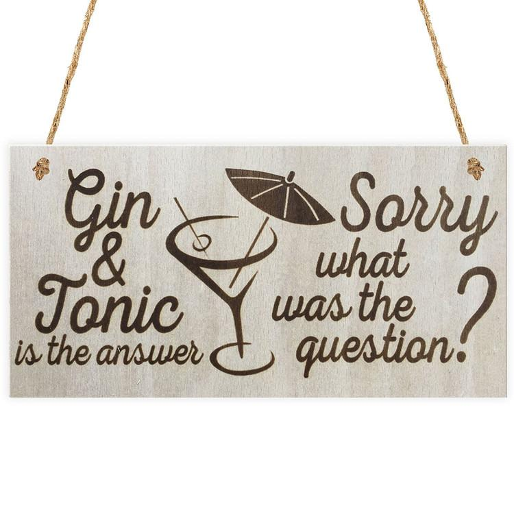 Wood Sign Plaque - Gin & Tonic is the answer Sorry what was the question? 6 x 12 Wall Decoration