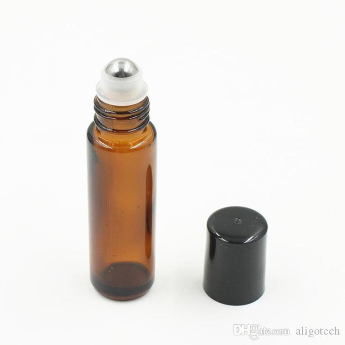 Cheapest Price Brown AMBER Glass Roll On Bottle 10ml 1/3oz Essential Oil Empty Aromatherapy Perfume Bottles with Metal Roller Ball