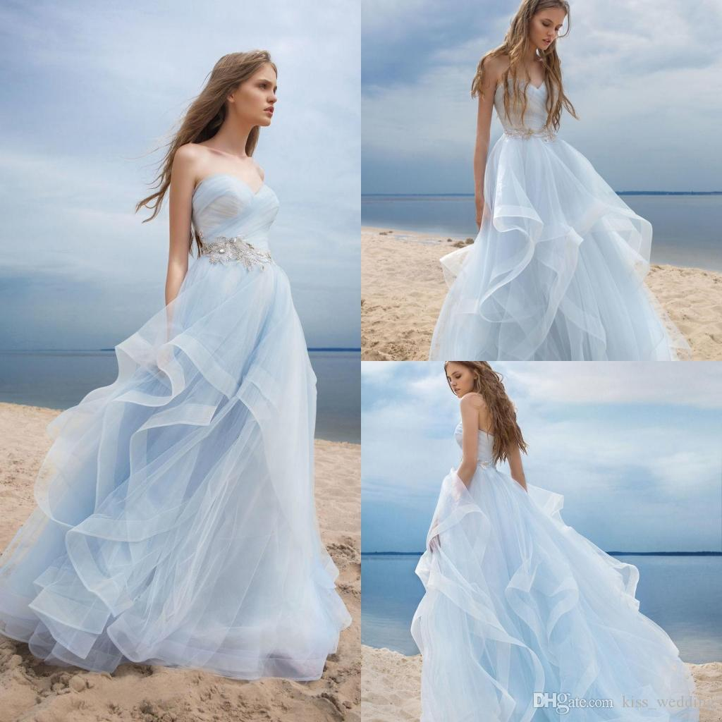 Discount beautiful light sky blue wedding dresses boho for Blue beach wedding dresses