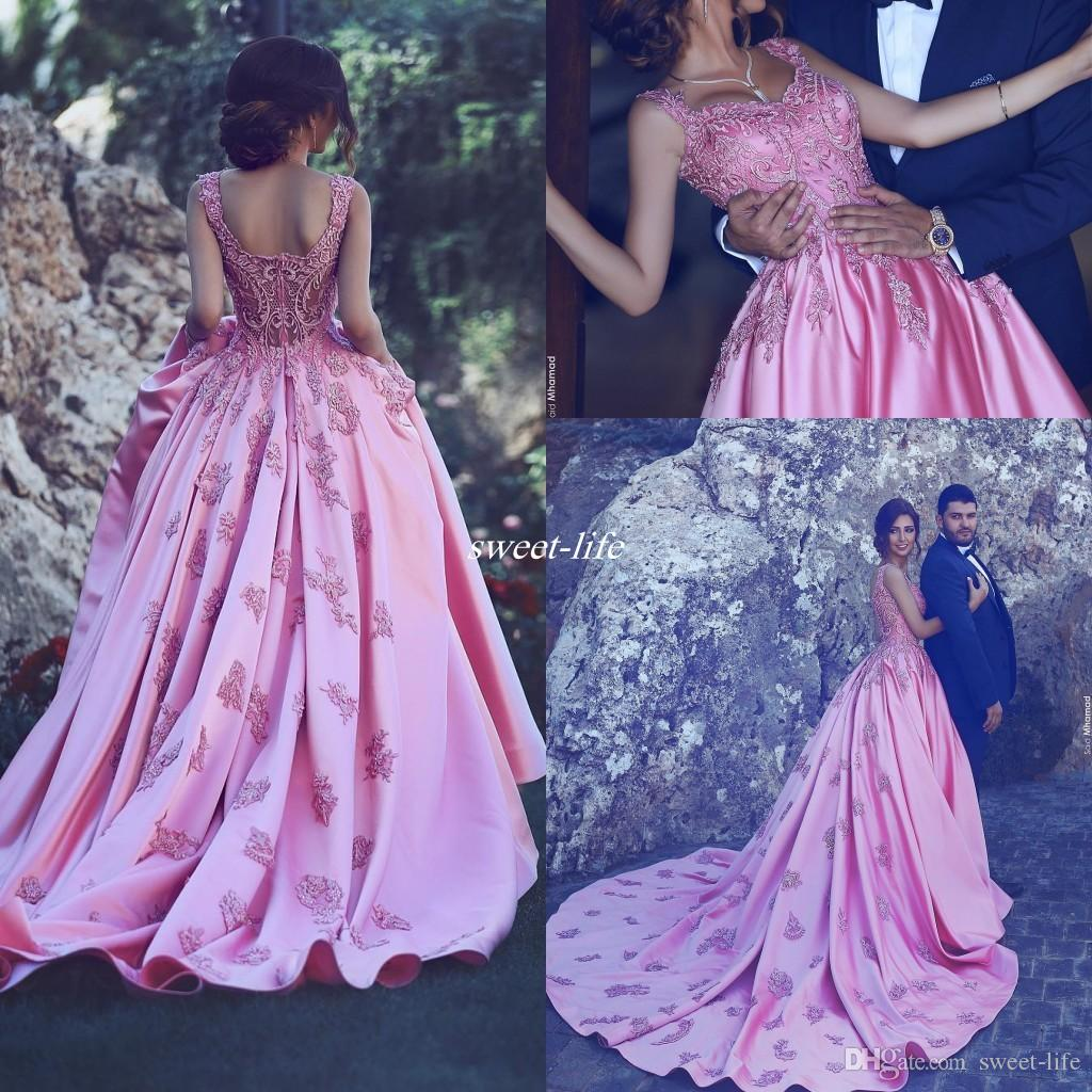 Compre Elegante 2017 Mujeres De Color Rosa Formal Vestidos De Noche ...