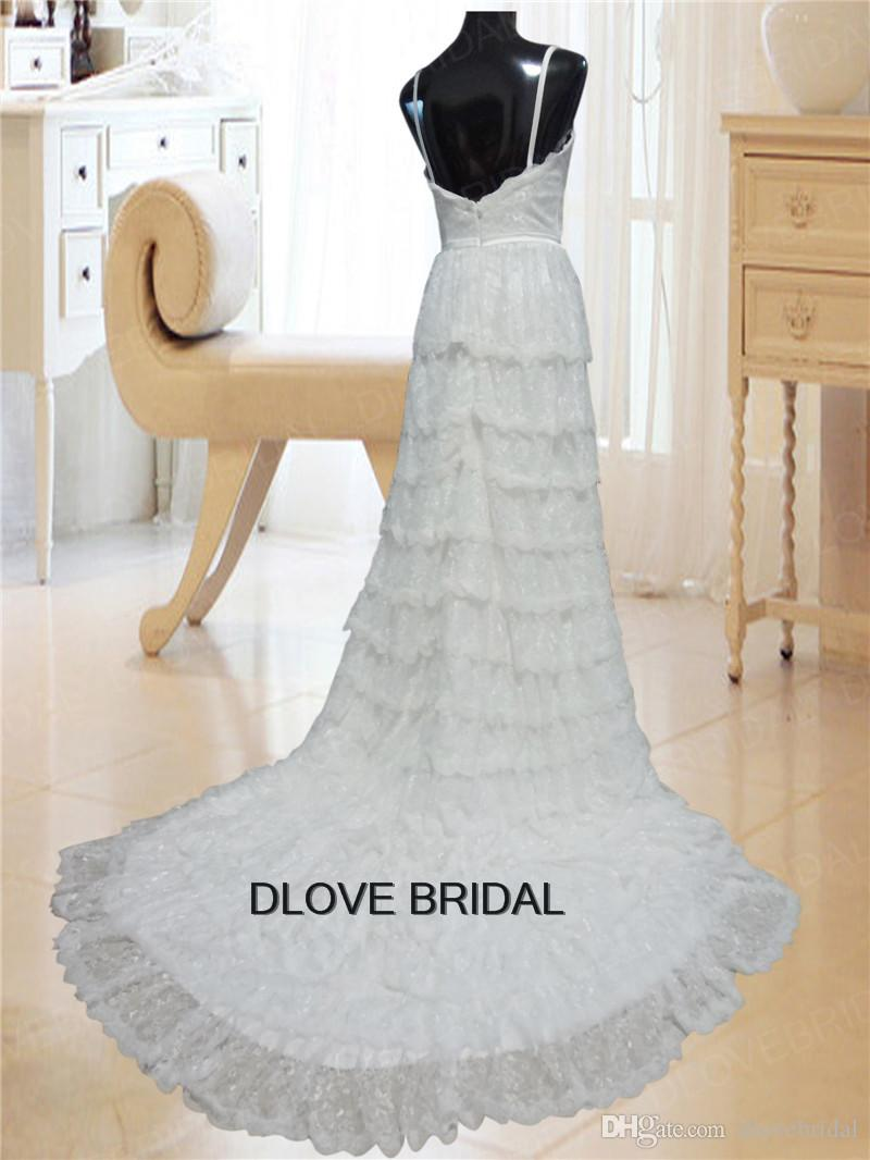 Romantic Lace Vestios De Novia High Quality Real Photo Spaghetti A Line Ruffles Layered Bridal Wedding Dress with High Neck Bolero Jacket