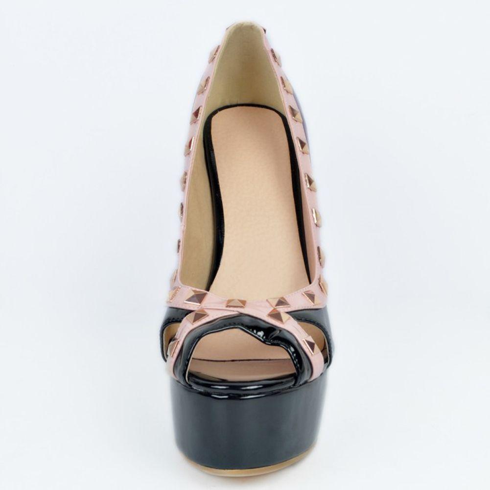Zandina Womens Fashion Handmade 15cm High Heel Rivet Studs Peep-toe Party Prom Pumps Shoes Black XD059