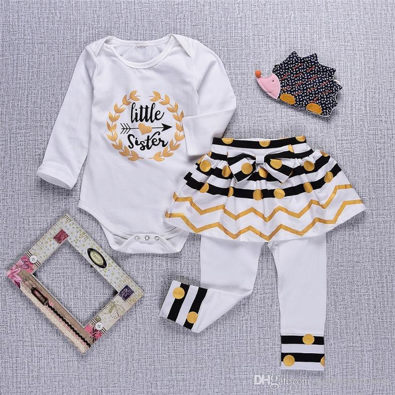 Roupa Das Meninas do bebê Primavera Outono Algodão de Manga Longa Roupa Infantil Do Bebê Grande Little Sister Crianças Roupas Set Romper + Calças Vestido Outfits