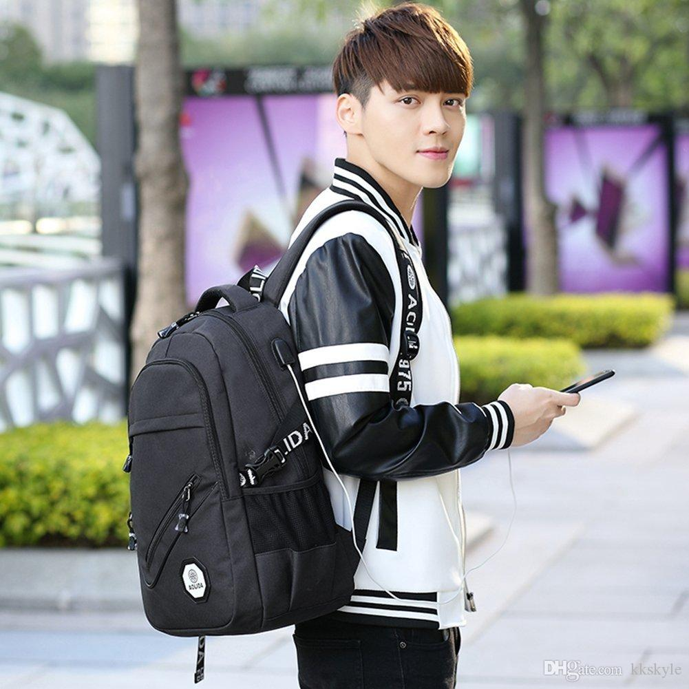 حقيبة كمبيوتر محمول لرجال الأعمال ، حقيبة مدرسية عادية مع منفذ شحن USB ، حقيبة سفر للرجال