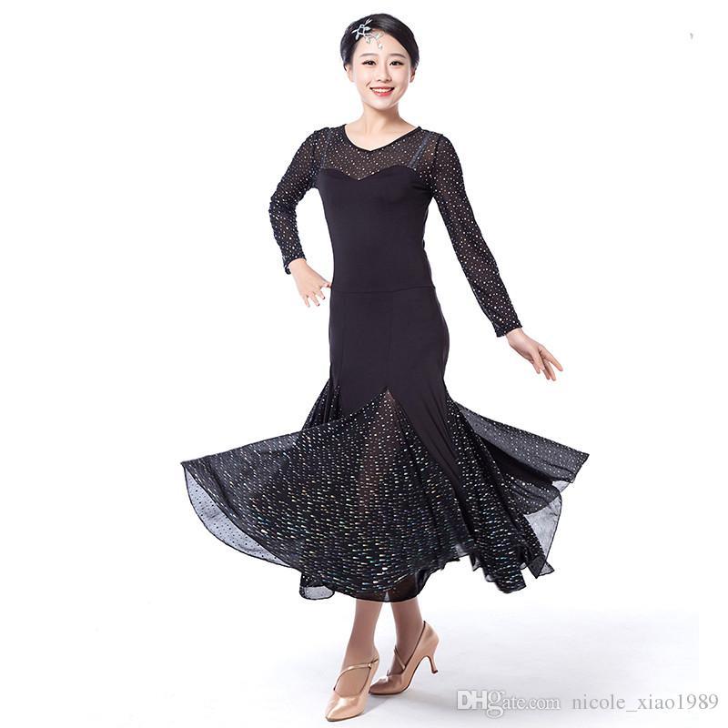 2017 NEUE moderne tanzkleid frauen Pailletten Waltz Tango Foxtrot quickstep kostüm wettbewerb kleidung standard ballroom dance rock