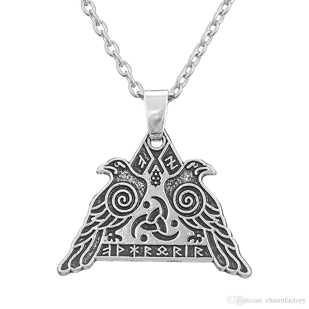 Vintage Style Odin's Huginn and Muninn Crow Valhalla Runic Viking Warrior WICCAN Valknut Viking Pendant Necklace Jewelry