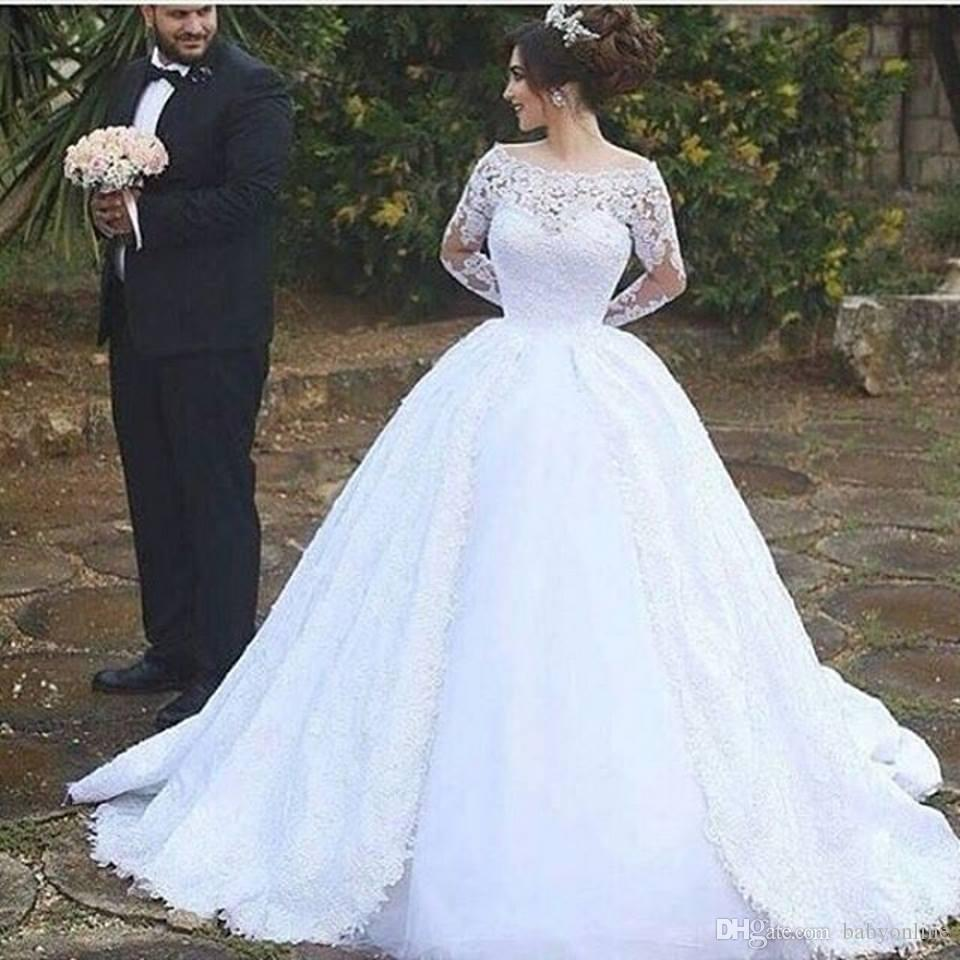 2017 New Vintage Long Sleeves Lace Wedding Gowns Middle East Arabic ...