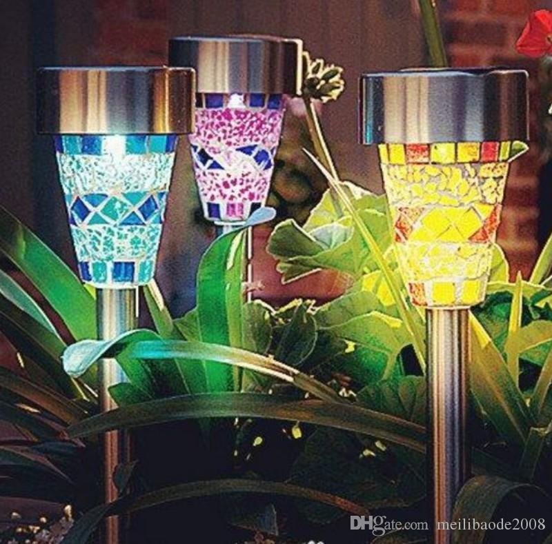 Lámpara con energía solar Mosaico solar Borde del jardín Luces del poste Decoración del jardín Estaca Luz Luz led solar Vía del césped Luz Navidad MYY